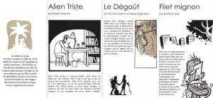 """Detalle de la tarjeta de presentación de la editorial Ínsula. """"Alien triste"""", """"El asco"""" y """"Bife angosto"""", en francés."""